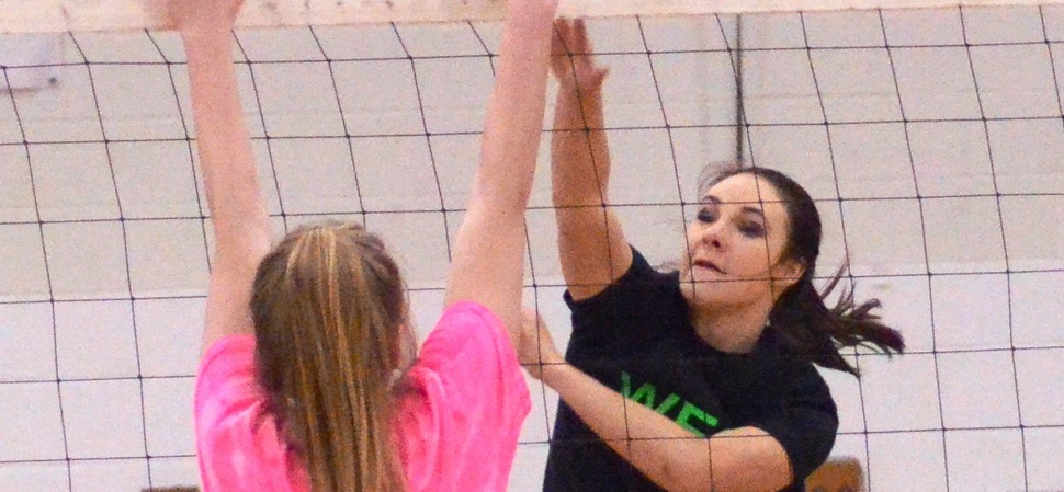 West edges East in five in senior volleyball game.